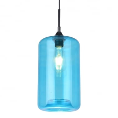Industrial Pod Modern Pendant Light - Sky Blue