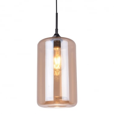 Industrial Pod Modern Glass Pendant Light - Amber