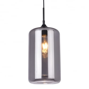 Industrial Pod Modern Glass Pendant Light - Black