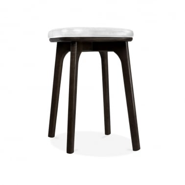 Winchester Upholstered Solid Wood Low Stool - White / Black 45cm