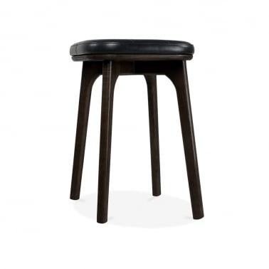 Winchester Upholstered Solid Wood Low Stool - Black 45cm