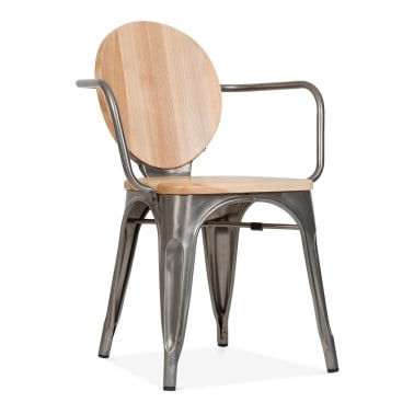 Louis Metal Armchair with Natural Wood - Gunmetal