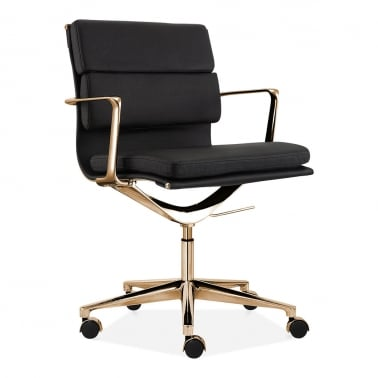 Soft Pad Office Chair with Short Back - Black / Gold