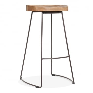 Victoria Metal High Stool with Wood Seat Option - Rustic 75cm