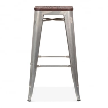 Tolix Style Stool with Wood Seat Option - Galvanised 75cm
