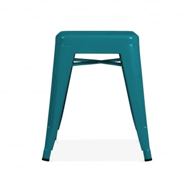 Tolix Style Metal Low Stool - Teal 45cm