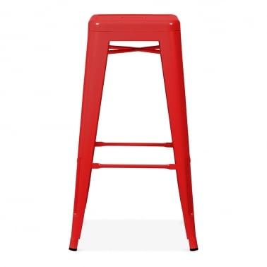 Tolix Style Metal Bar Stool - Red 75cm
