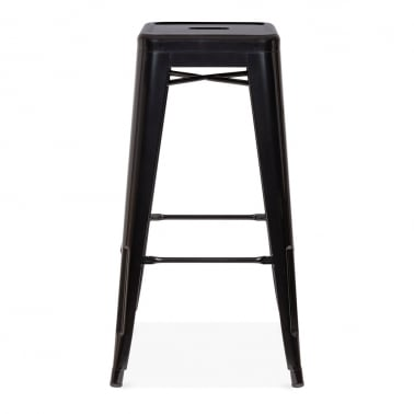 Tolix Style Metal Bar Stool, Black 75cm