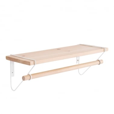 Ezra Wood and Steel Wall Shelf - White