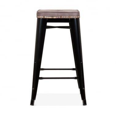 Tolix Style Bar Stool with Cushion Colour Option - Black 65cm
