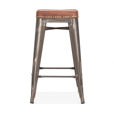 Tolix Style Bar Stool with Cushion Colour Option - Gunmetal 65cm