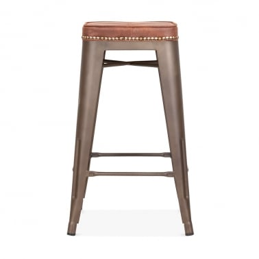 Tolix Style Bar Stool with Cushion Colour Option - Rustic 65cm