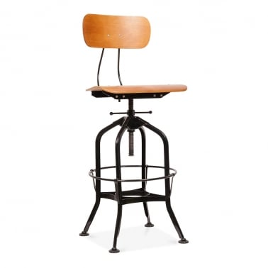 Toledo Style Swivel Bar Stool - Black 64/74cm