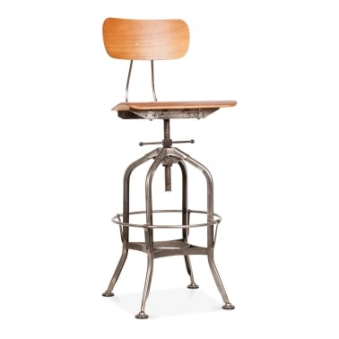 Toledo Style Swivel Bar Stool with Backrest, Rustic 64/74cm
