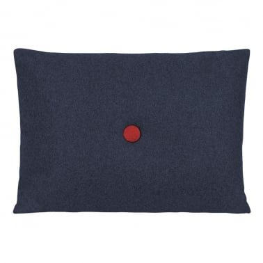 Poet Cushion With Single Button - Dark Blue with Red Button