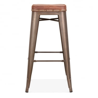 tolix style bar stool with cushion colour option rustic 75cm