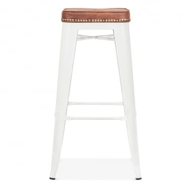 Tolix Style Bar Stool with Cushion Colour Option - White 75cm