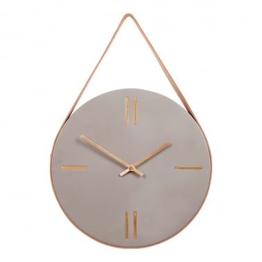 Concrete Hanging Wall Clock - Copper