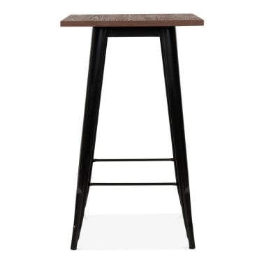 Tolix Style Metal Bar Table with Wood Top - Black 103cm