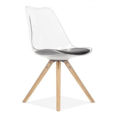 Dining Chair with Pyramid Style Solid Oak Wood Legs - Transparent