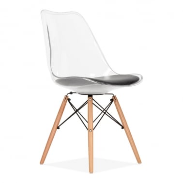 Transparent Dining Chair with DSW Style Wood Legs