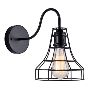 Tulip Metal Cage Wall Light - Black