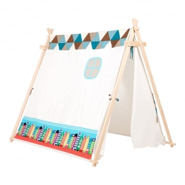 Kids Large Tent with Houses - Blue
