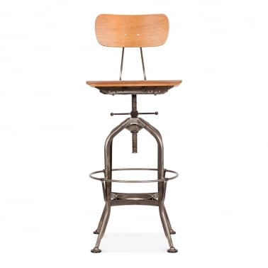 Toledo Style Swivel Bar Stool with Backrest, Gunmetal 64-82cm