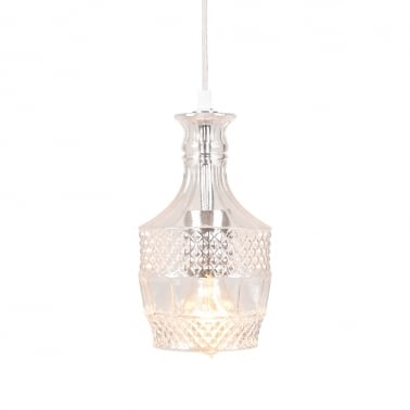 Brandy Decanter Hanging Light - Clear / Silver