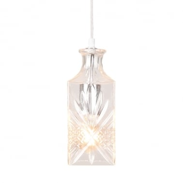 Cognac Decanter Hanging Light - Clear / Silver