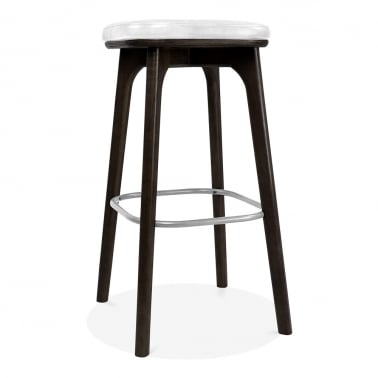 Winchester Upholstered Solid Wood Bar Stool - White / Black 75cm