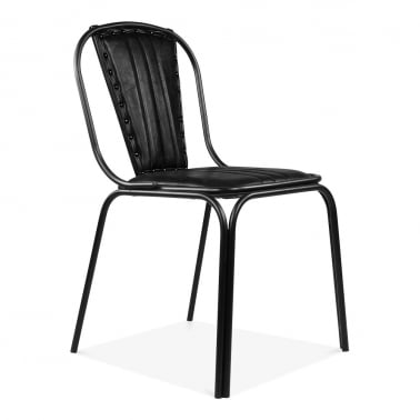 Whitney Leather Upholstered Studded Dining Chair   Black