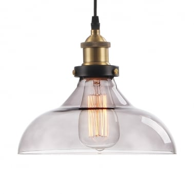 Factory Glass Dome Small Pendant Light - Black