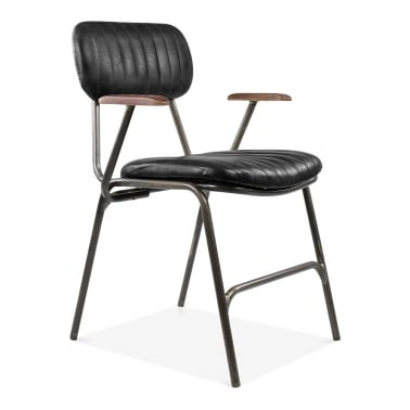 Boston Leather Upholstered Metal Armchair - Black