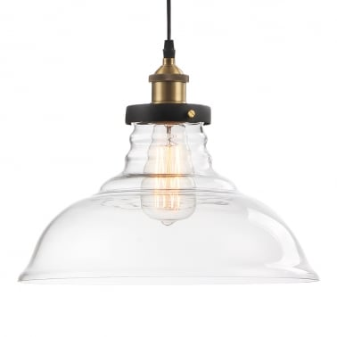 Factory Glass Dome Large Pendant Light - Clear