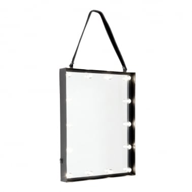 LED Studio Lights Hanging Mirror - Black