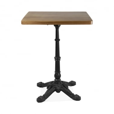 Regent Solid Wood and Metal Square Side Table - Walnut