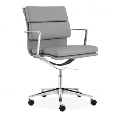 Soft Pad Office Chair with Short Back – Grey