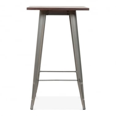 Tolix Style Metal Bar Table with Wood Top - Gunmetal 102cm