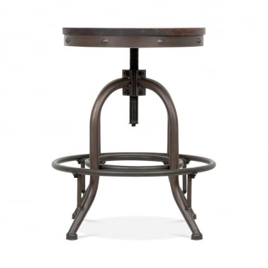 Toledo Style Trax Metal Swivel Low Stool - Rustic 45cm