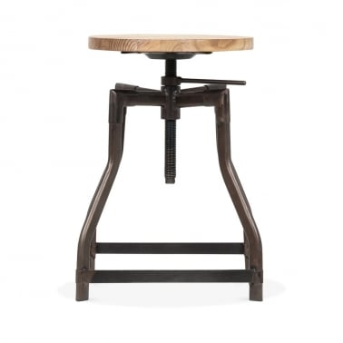 Industrial Swivel Adjustable Stool - Rustic 45cm