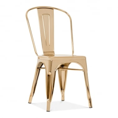 Tolix Style Metal Side Chair - Gold