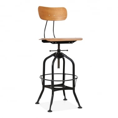 Toledo Style Swivel Bar Stool with Backrest, Black 64/74cm