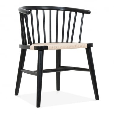 Isabella Wooden Dining Armchair with Rattan Seat - Black / Natural