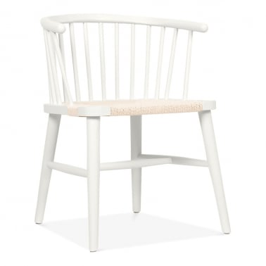 Isabella Wooden Dining Armchair with Rattan Seat - White / Natural