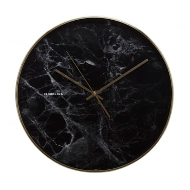Structure Black Marble Wall Clock - Black