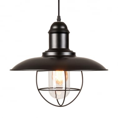 Oceanside Metal Cage Pendant Light - Black
