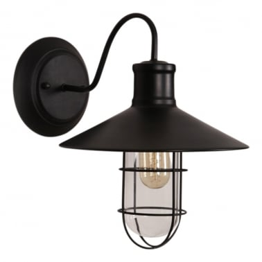 Harbour Fixed Arm Wall Light - Black