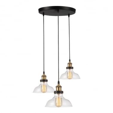 Factory Glass Triple Pendant Light - Clear