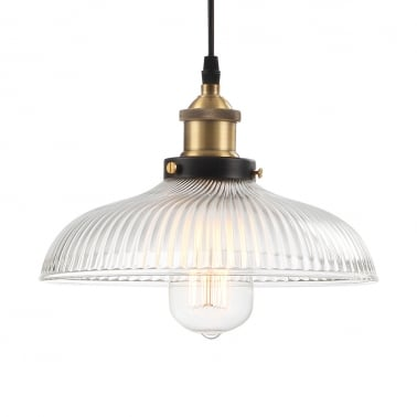 Veer Ribbed Glass Pendant Light - Clear